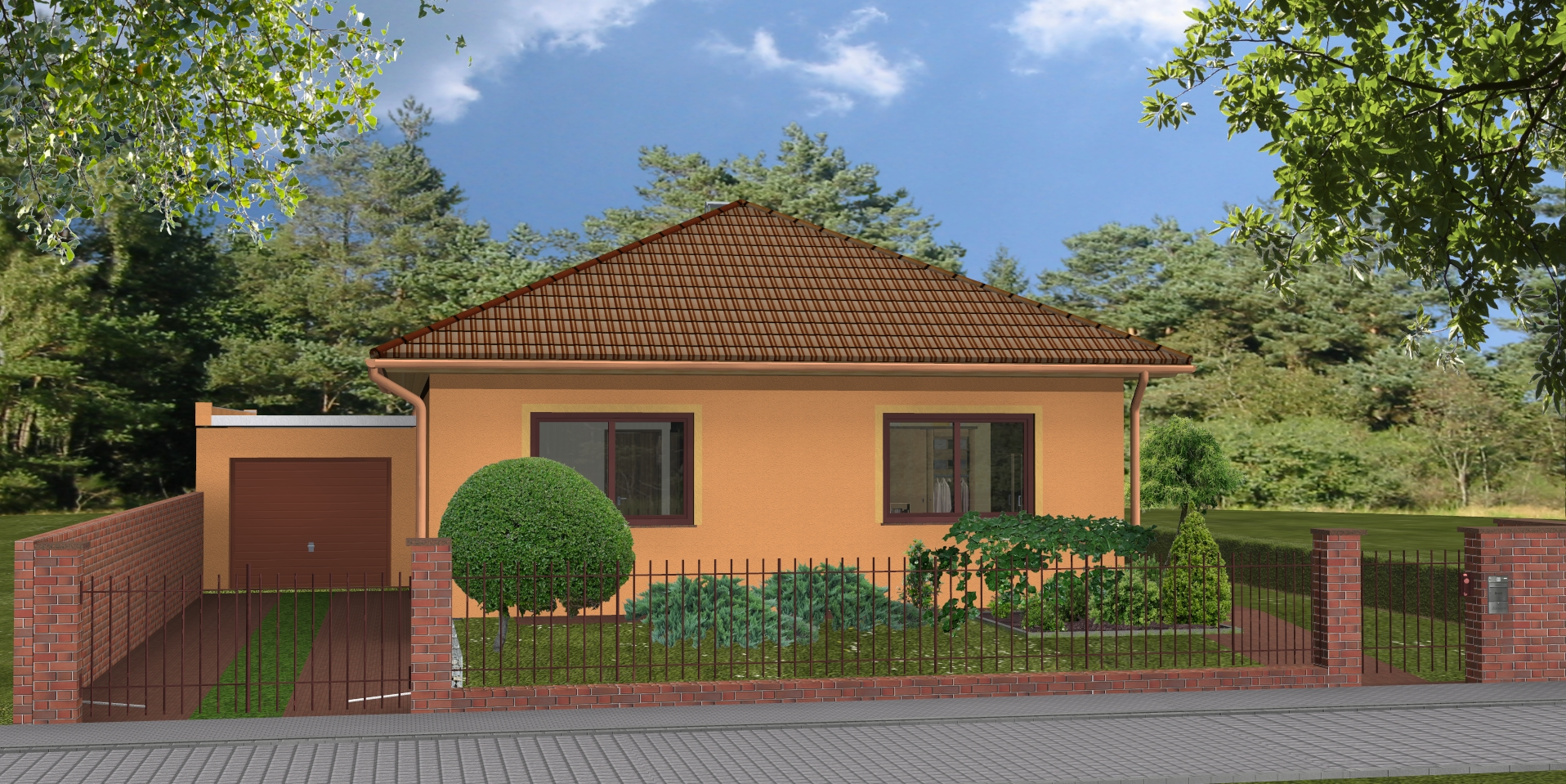 Hausbau Bungalow Classic 100 3D Straßenansicht